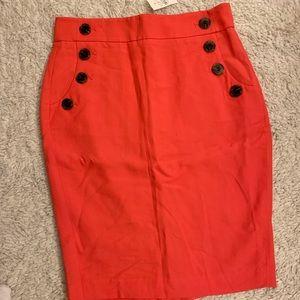 Ann Taylor Loft Orange Sailor Skirt size 2